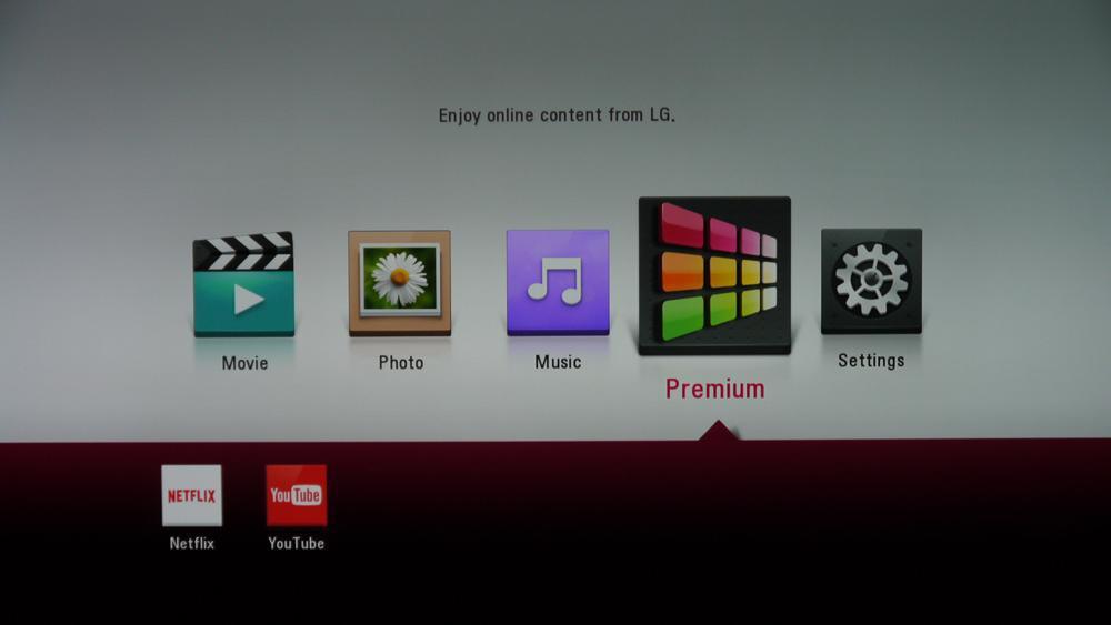 LG UP970 menu