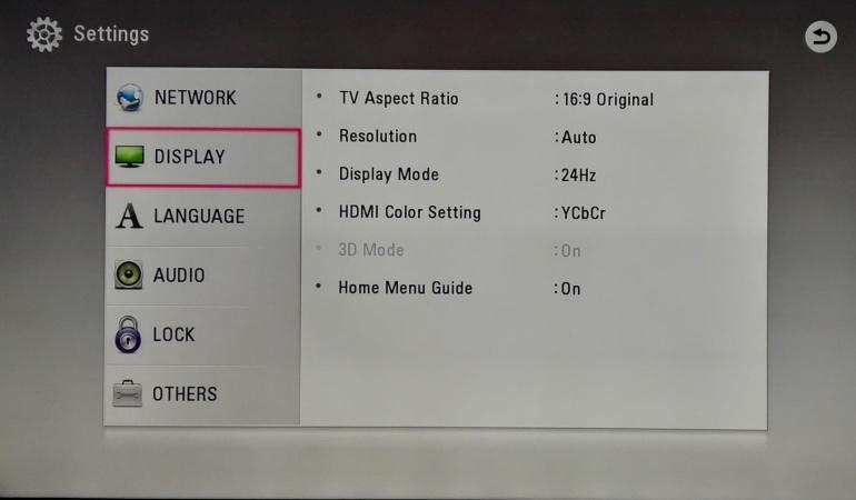 LG UP970 settings