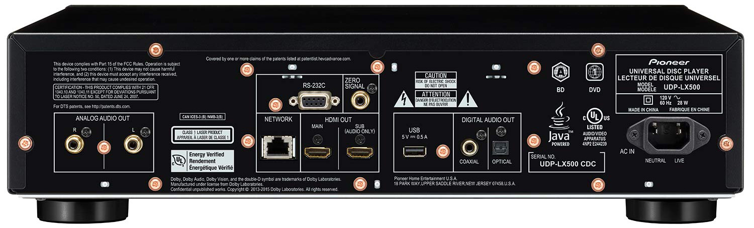 Pioneer UDP-LX500 connections