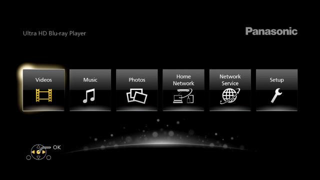 Panasonic DP-UB820 menu