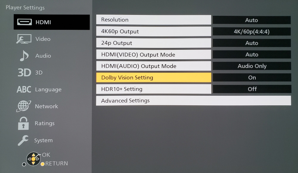 Panasonic DP-UB820 settings